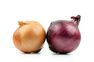 Ripe yellow and red onion isolated on a white background
