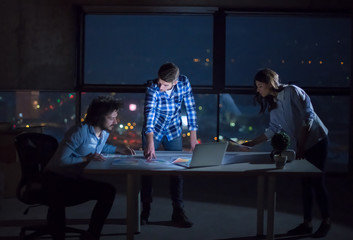 business people on construction site  in new startup office at night