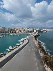 Fond de hotte en verre imprimé Port Héraklion (Crète – Grèce) – Vue aérienne du port