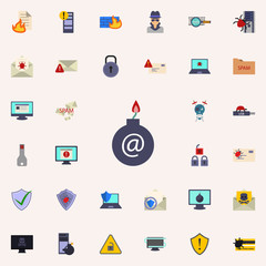 bomb in the mail icon. Virus Antivirus icons universal set for web and mobile