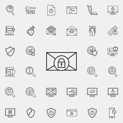 pismo lock icon. Virus Antivirus icons universal set for web and mobile