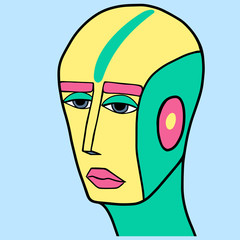 Fantasy cyberpunk portrait of yellow and turquoise bald character with pink lips and eyebrows. Surreal digital illustration on blue background. Art for children book, poster, print or banner
