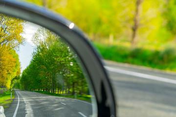 Road check in rear vision mirror