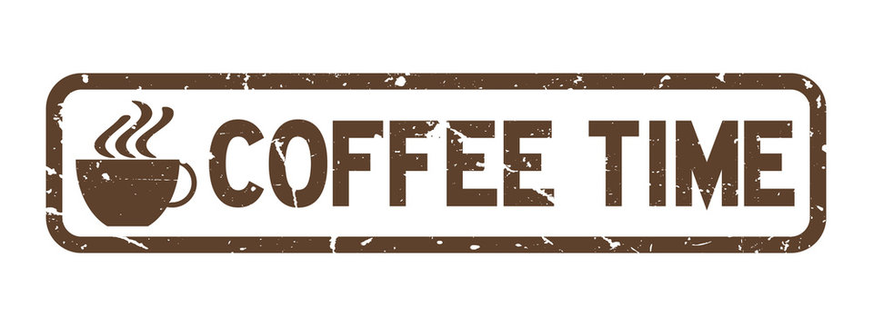 Grunge brown coffee time word with cup icon square rubber seal stamp on white background