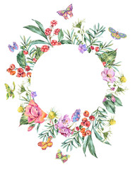 Watercolor Summer Round Frame with Chamomile, Berries, Wildflowers, Blackberry and Butterflies