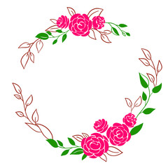 Beautiful wreath. Elegant floral frame isolated with pink flowers and leaves, hand drawn digital vector illustration. Design for invitation, wedding or greeting cards