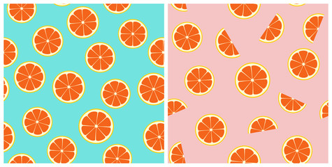 Pink Grapefruit Seamless Vector Pattern Tiles. Round and Half Citrus Slices Randomly Arranged on Pink and Aqua Turquoise Background. Summer Party Decor. Drink & Food Packaging Design. Swatch Included.
