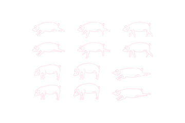 Pig set doodle icons for 2019 year isolated on white background. Flat vector background EPS 10