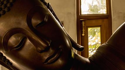 Buddha statue face.