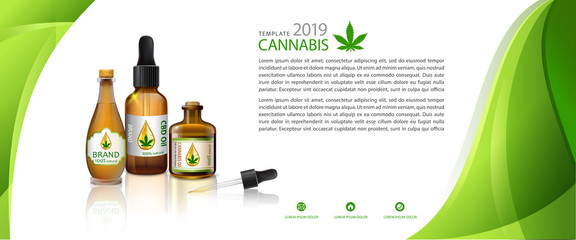 Marijuana plant and cannabis oil bottles vector.