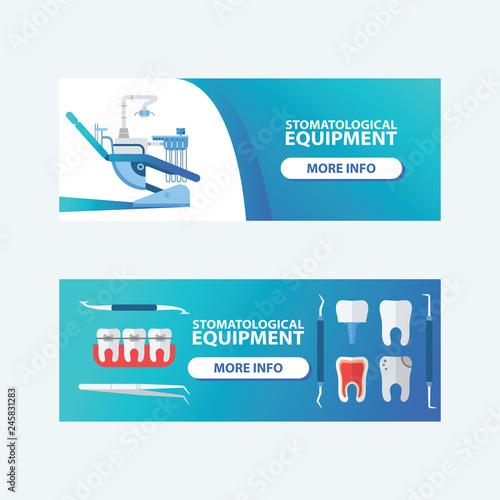 Dental, stomatological equipment set of banners vector