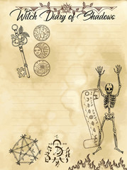 Witch diary page 3 of 31 with skeleton, pentagram, keys and symbols. Magic wiccan old book with occult illustration, mystic vector background