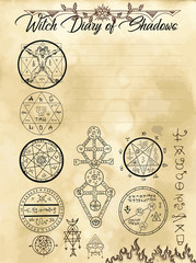 Witch diary page 13 of 31 with devil seals, weird symbols and pentagrams. Magic wiccan old book with occult illustration, mystic vector background