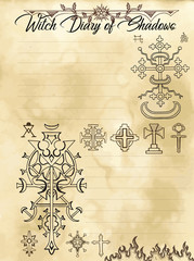 Witch diary page 28 of 31 with mystic fantasy crosses and evil occult symbols. Magic wiccan old book with occult illustration, mystic vector background