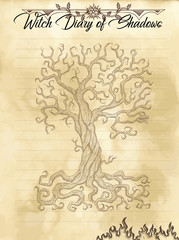 Witch diary page 30 of 31 with sacred old tree with branches and roots and copy space. Magic wiccan old book with occult illustration, mystic vector background