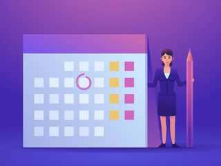 Small woman standing near big calendar. Plan your day, week, month. Business planning concept. Colorful design vector illustration