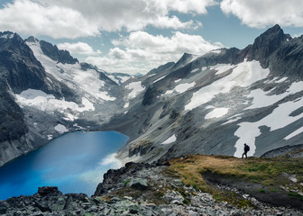 Looking out over a remote alpine lake in the North Cascades