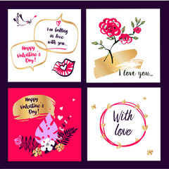 Set template banner, poster, flyer with freehand drawn image rose flower, bird, heart for wedding, love story party. Text With Love. Happy valentine day 14 february. Vector illustration