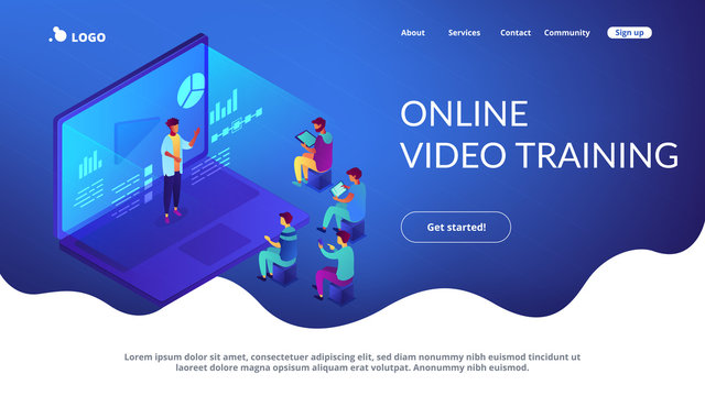 Students e-learning by webinar training and listening to businessman with charts on laptop. Webinar, online video training, tutorial podcast concept. Isometric 3D website app landing web page template
