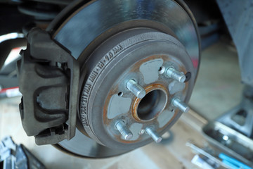 Disc brake rotor and pads on a vehicle