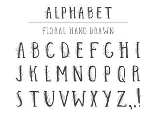 Vector hand drawn alphabet in style grunge with floral elements. Capital letters.