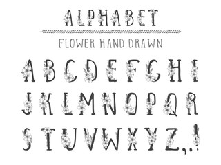 Vector hand drawn alphabet in style grunge. Capital letters.