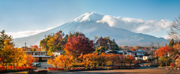 Mount Fuji Panorama in Autumn from a Japanese resort town.