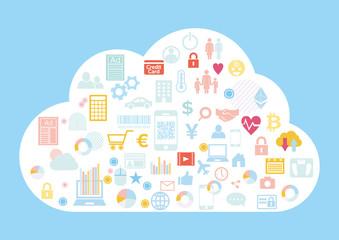 クラウドビジネスに紐づくビッグデータ-アイコンフラットデザイン青色背景イラスト