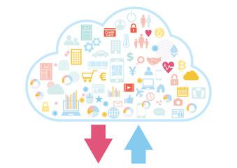 クラウドビジネスに紐づくビッグデータのアップロードダウンロード-アイコンフラットデザイン白色背景