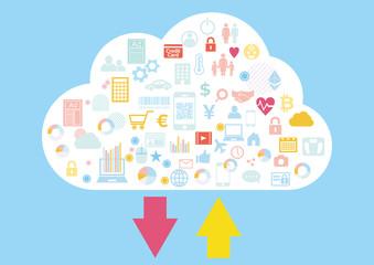 クラウドビジネスに紐づくビッグデータのアップロードダウンロード-アイコンフラットデザイン青色背景
