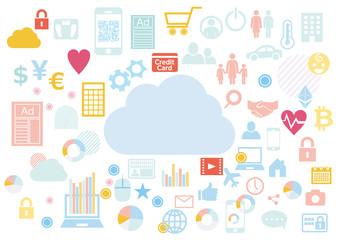 クラウドビジネスに紐づくビッグデータ-アイコンフラットデザイン白背景イラスト