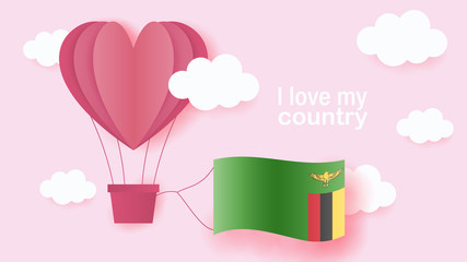 Hot air balloons in shape of heart flying in clouds with national flag of Zambia. Paper art and cut, origami style with love to Zambia