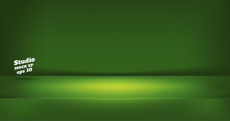 Vector,Empty neon style dark lime green color studio table room background ,product display with copy space for display of content design.Banner for advertise product on website.