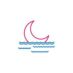 Islam, isha prayer 2 colored line icon. Simple blue and red element illustration. Islam, isha prayer concept outline symbol design from Islam set