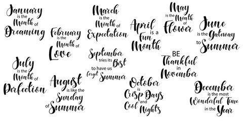 Lettering composition of every month of the year. Vector illustration. Elements for calendar, planner, greeting card, poster, banners. T-shirt, notebook and sticker design