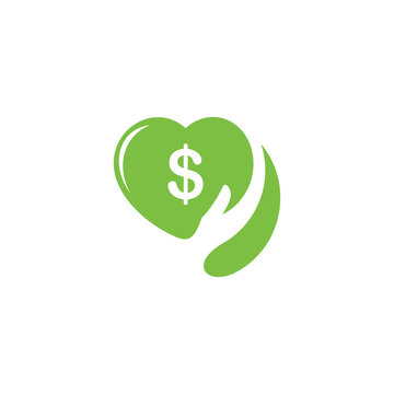 money dollar love hand care finance logo vector