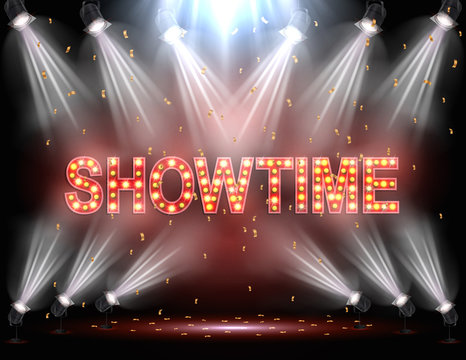 Showtime background illuminated by spotlights