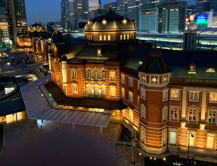 Tokyo, Japan cityscape in the Marunouchi District and Tokyo Train Station