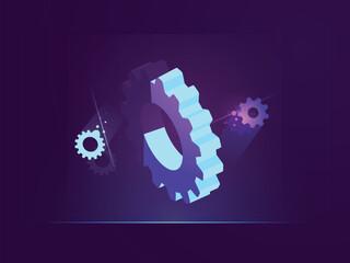 Technical banner 3d gear, dark neon illustration of digital technology, mechanism