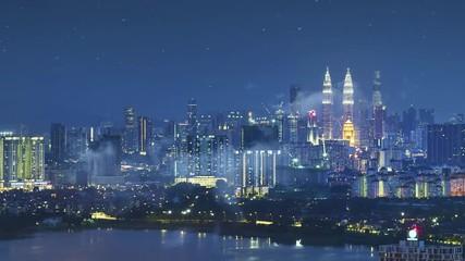 Fotomurales - Aerial view of Kuala Lumpur asia Malaysia , night scene .