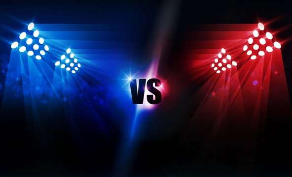 Boxing ring arena and floodlights vector design Bright stadium arena lights red blue. Vector illumination