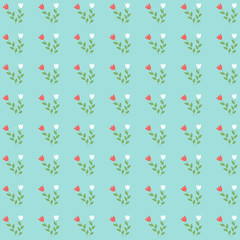 Cute botanics pattern with red and white flower and leaf on pastel blue background in minimal and abstract style look so sweet for wallpaper and all design. Vector concept about environment and plant.