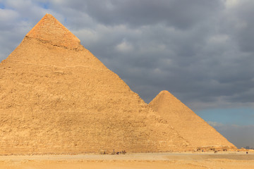 Giza pyramid complex on the Giza Plateau, on the outskirts of Cairo, Egypt