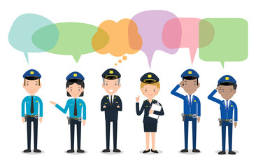 set of police officers with speech bubbles, Woman and man cops characters,security in uniform and cap, Police cop and officer security in uniform with speech bubbles,vector illustration