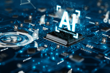 3D render AI artificial intelligence technology CPU central processor unit chipset on the printed circuit board for electronic and technology concept select focus shallow depth of field Fototapete