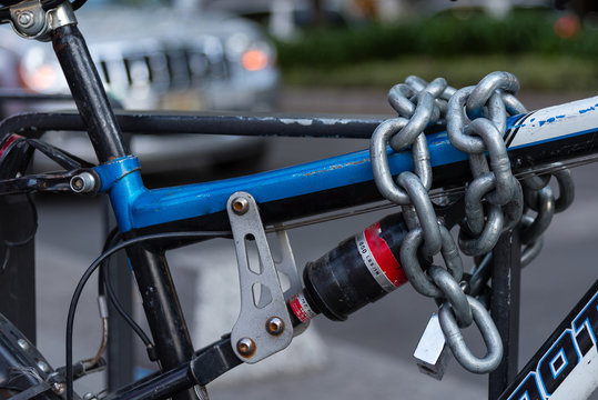 Bicycle lock and chains in the street