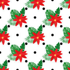 Tropical flower and leaves  with black dots seamless pattern