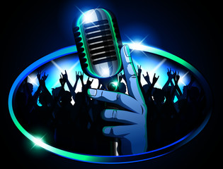 Hand holding Retro Mic/ Microphone in front of huge silhouetted crowd waving arms & cheering signifying a concert, pub, karaoke or talent show. Blue & Teal color theme with bright lights for effect