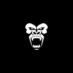Gorilla roar logo - angry monkey