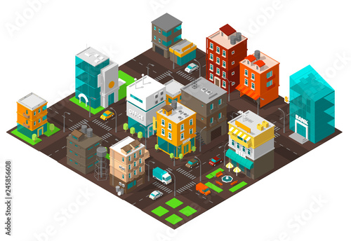 City town district street Isometric Intersection road 3d  Very high